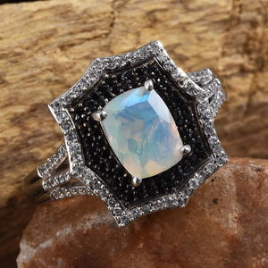 Ethiopian Welo Opal, Multi Gemstone Ring in Platinum Over Sterling Silver (Size 8.0) 2.05 ctw