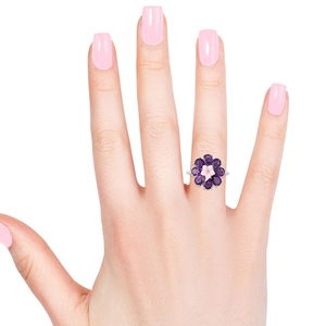 Lusaka Amethyst, Pink Mother of Pearl Floral Ring in Sterling Silver (Size 6.0) 4.96 ctw