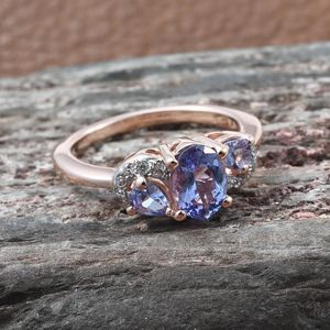 Tanzanite, Zircon Ring in Vermeil RG Over Sterling Silver (Size 8.0) 1.15 ctw