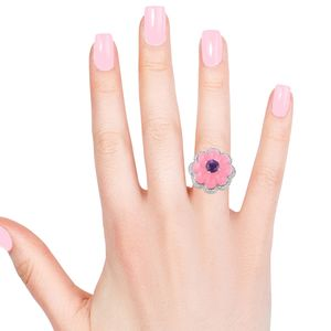Burmese Pink Jade, Multi Gemstone Carved Flower Ring in Sterling Silver (Size 6.0) (Avg. 7.50 g) 15.15 ctw
