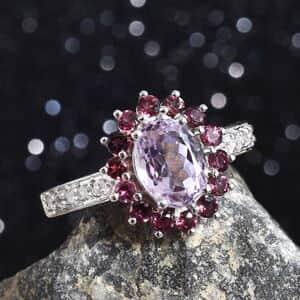 AA Premium Martha Rocha Kunzite, Multi Gemstone Ring in Platinum Over Sterling Silver (Size 9.0) 3.75 ctw