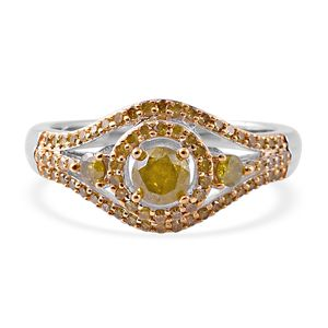 Yellow Diamond (IR) Ring in Rhodium & Platinum Over Sterling Silver (Size 8.0) 1.00 ctw