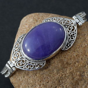 Artisan Crafted Burmese Purple Jade Bracelet in Sterling Silver (7.25 In) 27.82 ctw