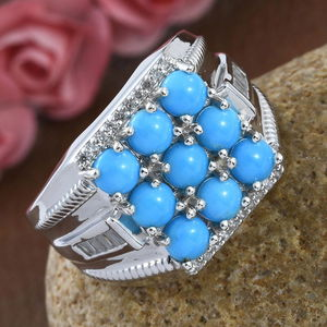 Arizona Sleeping Beauty Turquoise, Zircon Men's Ring in Platinum Over Sterling Silver (Size 13.0) 3.44 ctw