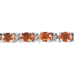 Yellow Sapphire, Diamond Accent Sterling Silver Bracelet (7.50 In) 5.33 ctw