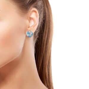 Santa Fe Style Multi Gemstone Stud Earrings in Sterling Silver 1.18 ctw