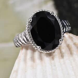 KARIS Thai Black Spinel Ring in Platinum Bond Brass (Size 11.0) 10.90 ctw