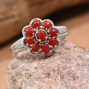 Coral Flower Ring in Platinum Over Sterling Silver (Size 9.0) 1.75 ctw