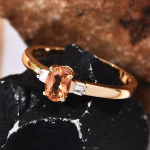 ILIANA AAA Premium Imperial Topaz, Diamond Accent Ring in 18K Yellow Gold (Size 7.0) 0.64 ctw