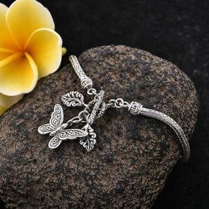 BALI LEGACY Butterfly Charm Bracelet in Sterling Silver (7.25 In) (9.66 g)
