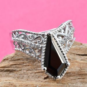 Shungite, Zircon Ring in Platinum Over Sterling Silver (Size 7.0) 1.33 ctw