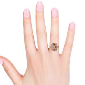 ILIANA AAAA Premium Marropino Morganite, Diamond (0.42 ct) Ring in 18K Rose Gold (Size 6.0) 9.94 ctw