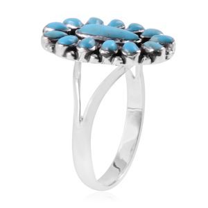 Santa Fe Style Kingman Turquoise Split Ring in Sterling Silver (Size 9.0) 1.25 ctw