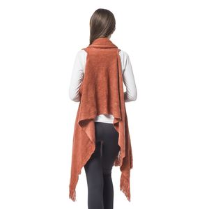 Ginger 100% Acrylic Knitted Drape Vest with Fringes (One Size)