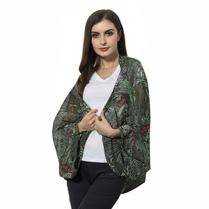 Green 100% Polyester Butterfly Pattern Shrug (One Size)