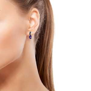 Lusaka Amethyst Blue Rhodium & Platinum Over Sterling Silver Drop Earrings TGW 1.42 cts.