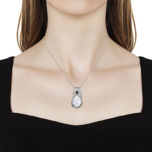 Dendritic Agate, Black CZ Pendant Necklace in Stainless Steel (20 in) 8.82 ctw