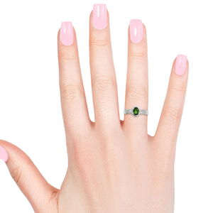 Russian Diopside, Cambodian Zircon Platinum Over Sterling Silver Ring (Size 8.0) TGW 1.14 cts.