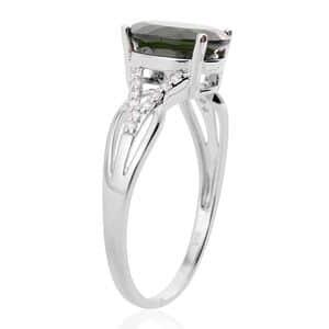 Russian Diopside, White Zircon Sterling Silver Split Ring (Size 6.0) 2.81 ctw