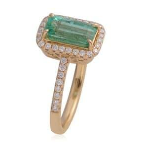 ILIANA AAAA Premium Boyaca Colombian Emerald, Diamond (0.32 ct) Ring in 18K Yellow Gold (Size 7.0) 1.82 ctw