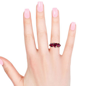 Ruby CZ 14K YG Over Sterling Silver Heart Trilogy Ring (Size 6.0) 3.30 ctw