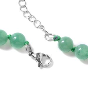 Green Aventurine, White Austrian Crystal Pendant and Bead Necklace (18 in) in Iron & Stainless Steel 259.50 ctw