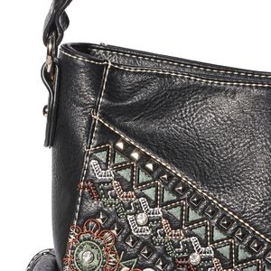 P&G COLLECTION Black Vegan Leather Floral Embroidered Southwest Studded Shoulder Bag with Standing Studs (13x4.5x10 in)
