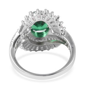 Green and White CZ Ring in Silvertone (Size 6.0) 4.27 ctw