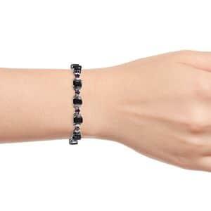Shungite, Orissa Rhodolite Garnet Station Bracelet in Platinum Over Sterling Silver (8.00 In) 16.75 ctw