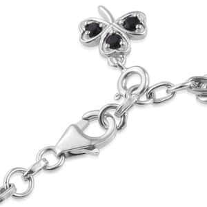 Shungite, Multi Gemstone Platinum Over Sterling Silver Charm Bracelet (7.25 In) 6.52 ctw