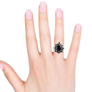 Thai Black Spinel, Cambodian Zircon Ring in Platinum Over Sterling Silver (Size 9.0) 13.35 ctw