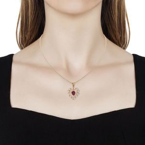 Niassa Ruby, Ethiopian Welo Opal Pendant Necklace (20 in) in Vermeil YG Over Sterling Silver 4.00 ctw