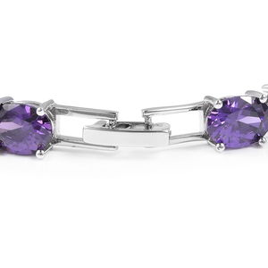 Purple CZ, White CZ Bracelet in Silvertone (8.00 In) 18.05 ctw