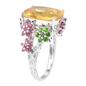 Yellow Fluorite, Multi Gemstone Cocktail Ring in Sterling Silver (Size 7.0) 14.50 ctw