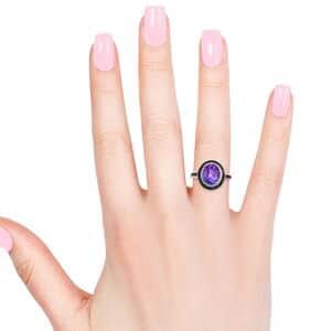 Midnight Fuchsia Quartz, Multi Gemstone Ring in Black Rhodium & Platinum Over Sterling Silver (Size 9.0) 6.30 ctw