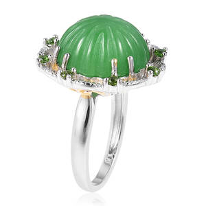 Burmese Green Jade, Russian Diopside Ring in Yellow Rhodium & Sterling Silver (Size 8.0) 14.33 ctw