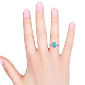 ILIANA Arizona Sleeping Beauty Turquoise, Diamond (0.08 ct) Ring in 18K White Gold (Size 7.0) 4.13 ctw