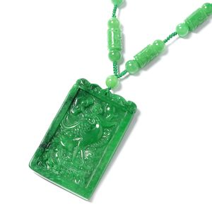 Burmese Green Jade Carved Bead Necklace (18 in) in Sterling Silver 813.50 ctw