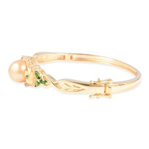 South Sea Golden Cultured Pearl 11.5-12 mm, Multi Gemstone Bangle Bracelet in Vermeil YG Over Sterling Silver (6.75 in) 2.03 ctw