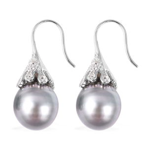 Tahitian Cultured Pearl 12-13 mm, White Zircon Earrings in Sterling Silver 0.40 ctw