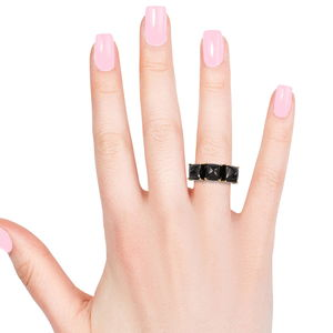 Shungite Trilogy Ring in Vermeil YG Over Sterling Silver (Size 8.0) 7.60 ctw