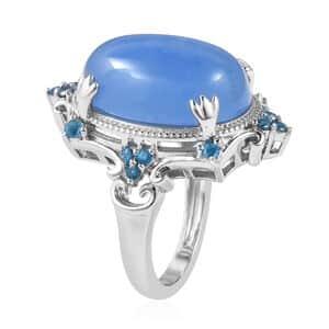 Burmese Blue Jade, Malgache Neon Apatite Ring in Sterling Silver (Size 11.0) 14.65 ctw