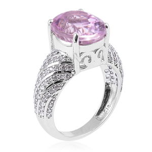 Kunzite, Cambodian Zircon Ring in Platinum Over Sterling Silver (Size 7.0) 7.28 ctw