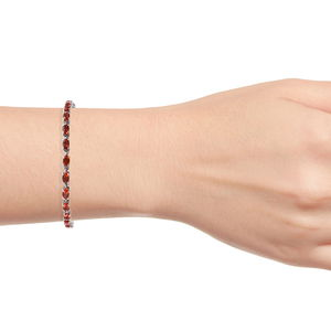 Crimson Fire Opal Bracelet in Platinum Over Sterling Silver (7.25 In) 3.50 ctw