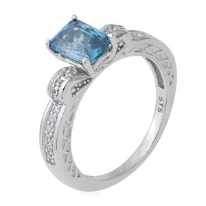 Cambodian Blue Zircon, Cambodian Zircon Royal Ring in Platinum Over Sterling Silver (Size 5.0) 2.63 ctw