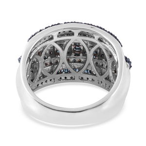 Blue Diamond (IR) Ring in Blue Rhodium & Platinum Over Sterling Silver (Size 6.0) 1.00 ctw
