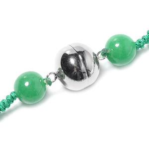 Burmese Green Jade Carved Magnetic Clasp Necklace (20 in) in Sterling Silver 740.00 ctw
