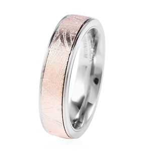 Marvelous Meteorite Band Ring in ION Plated RG Titanium (Size 7.0)