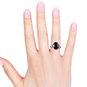 Thai Black Spinel, Orissa Rhodolite Garnet Ring in Platinum Over Sterling Silver (Size 10.0) 11.25 ctw