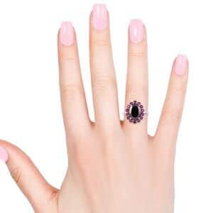 Shungite, Orissa Rhodolite Garnet Ring in Platinum Over Sterling Silver (Size 5.0) 5.45 ctw